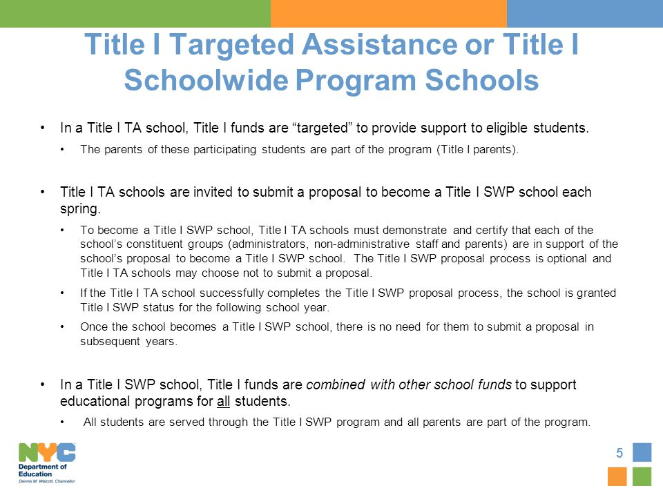 Title I Targeted Assistance or Title I Schoolwide Program Schools