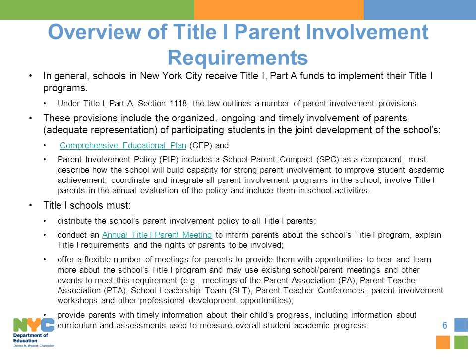 Overview of Title I Parent Involvement Requirements