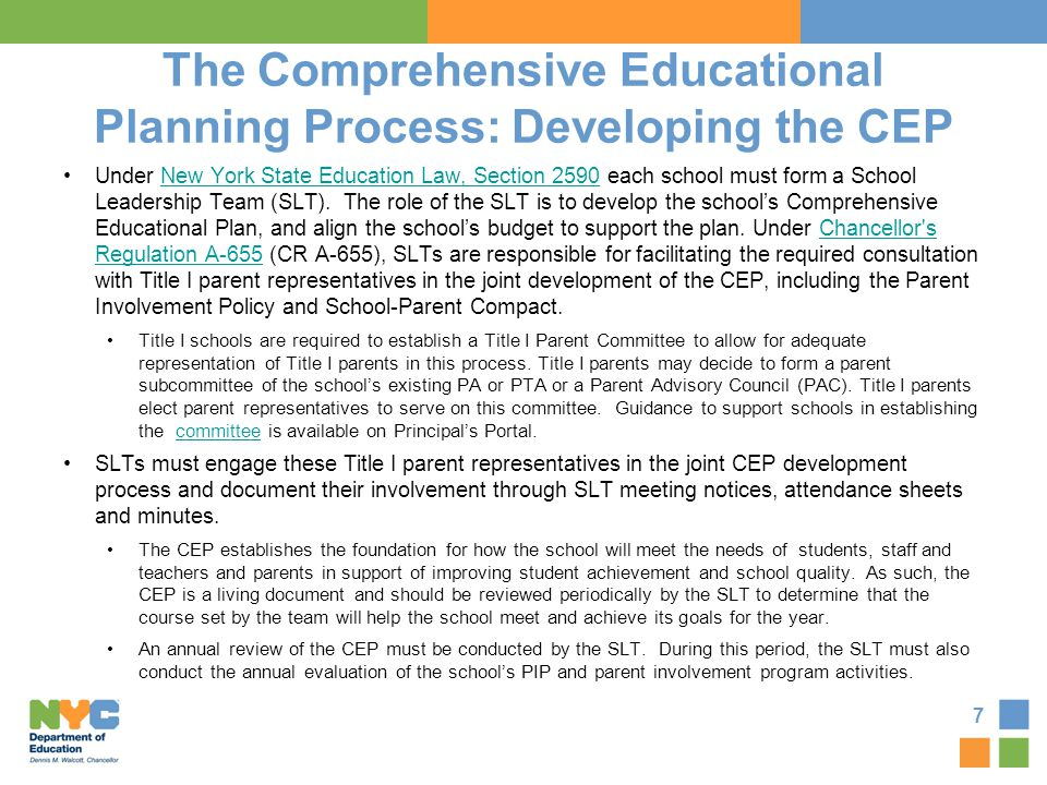 The Comprehensive Educational Planning Process: Developing the CEP