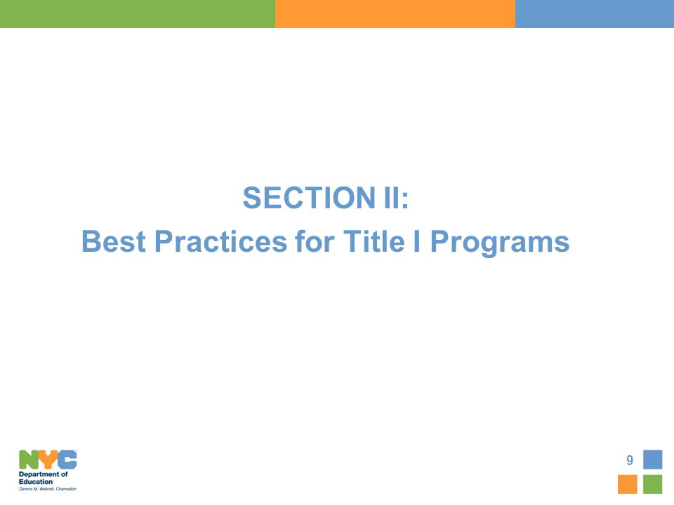 SECTION II: Best Practices for Title I Programs
