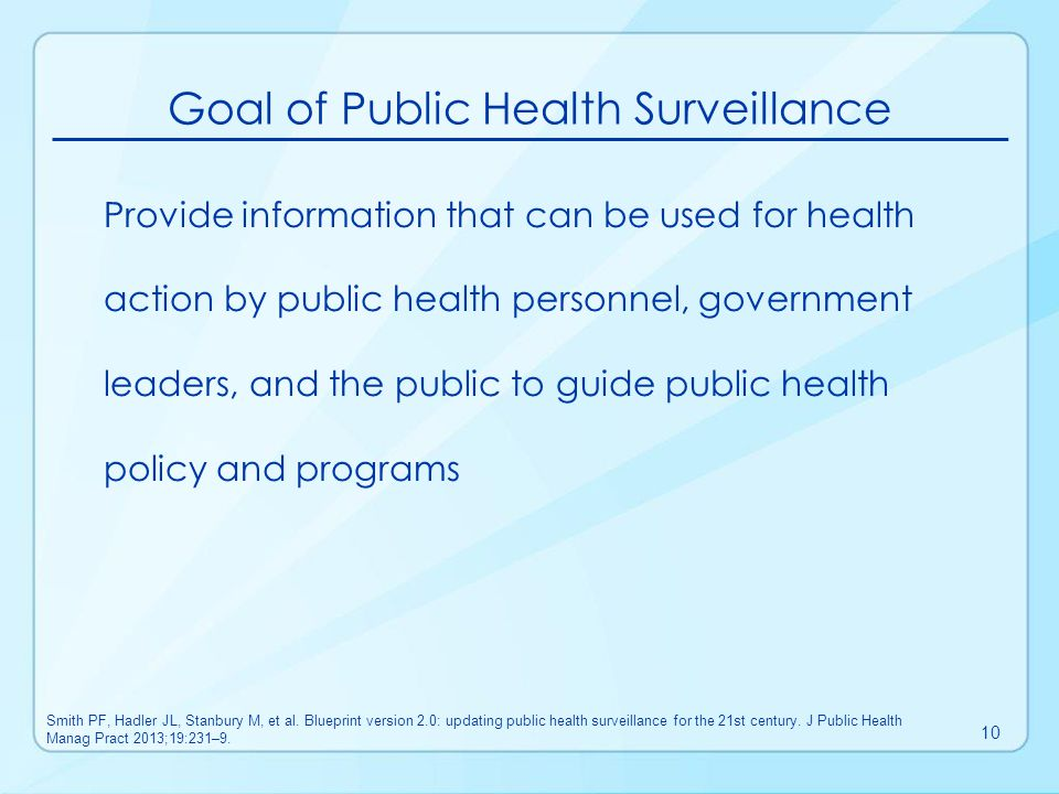 Goal of Public Health Surveillance