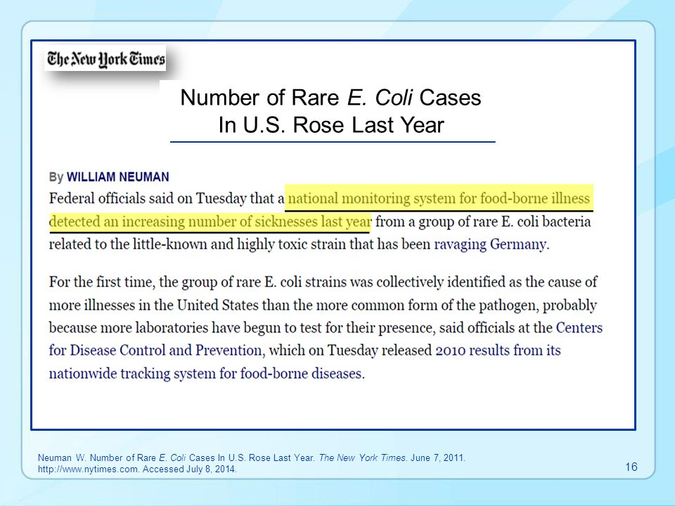 Number of Rare E. Coli Cases