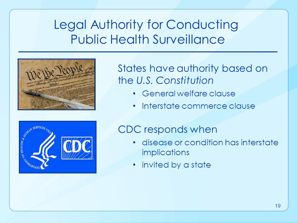 Legal Authority for Conducting Public Health Surveillance