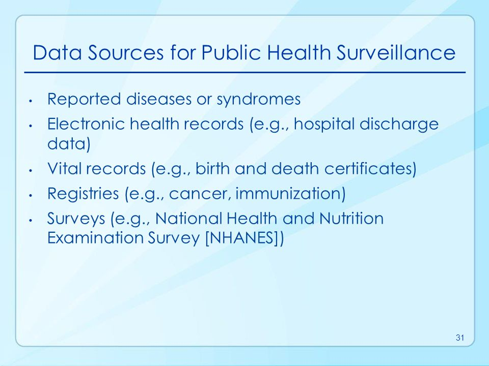 Data Sources for Public Health Surveillance