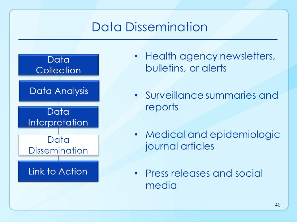 Data Dissemination Health agency newsletters, bulletins, or alerts