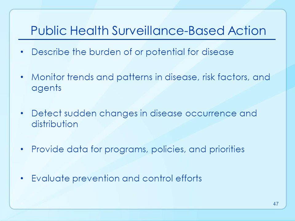 Public Health Surveillance-Based Action