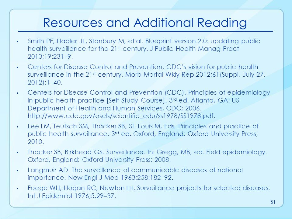 Resources and Additional Reading