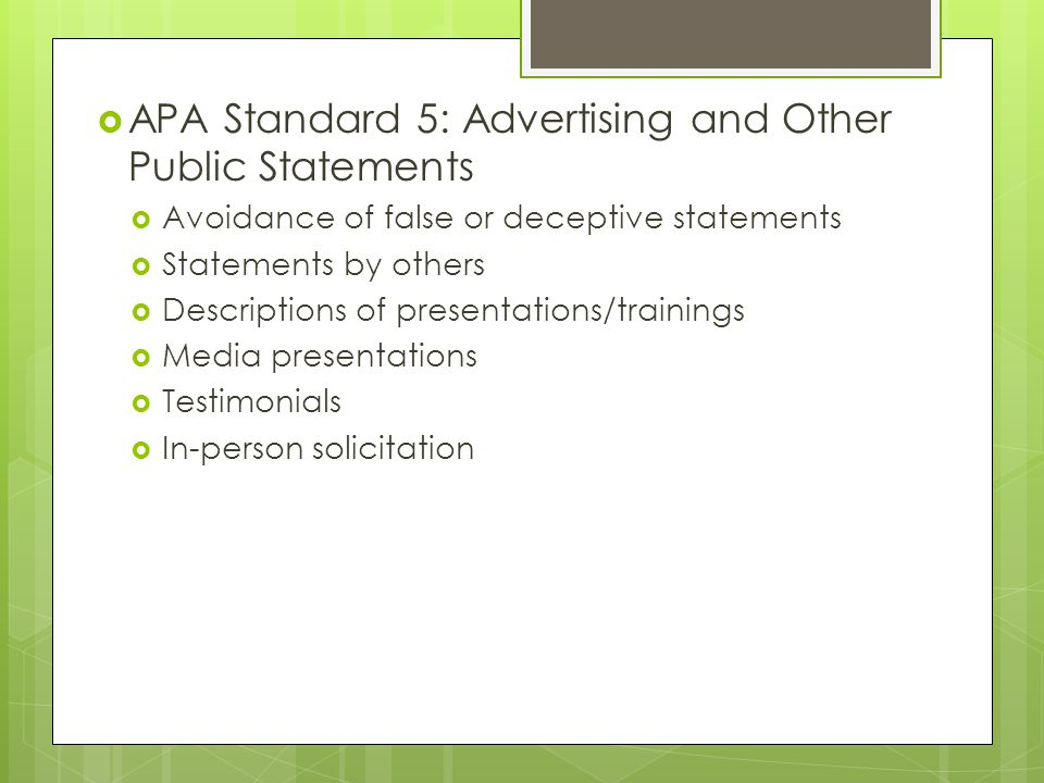 APA Standard 5: Advertising and Other Public Statements