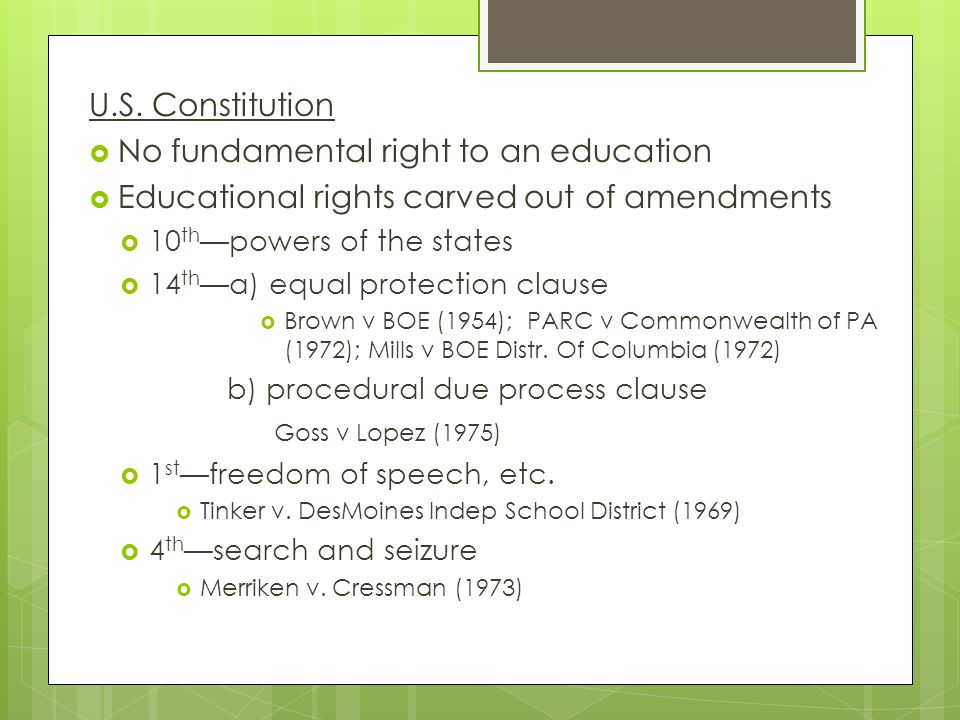 No fundamental right to an education