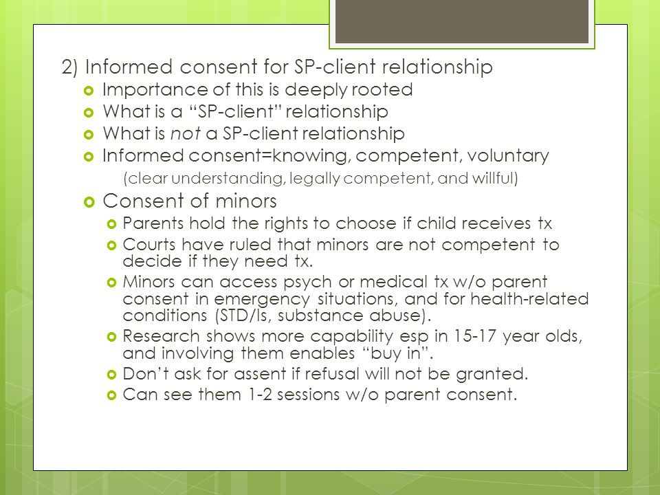 2) Informed consent for SP-client relationship