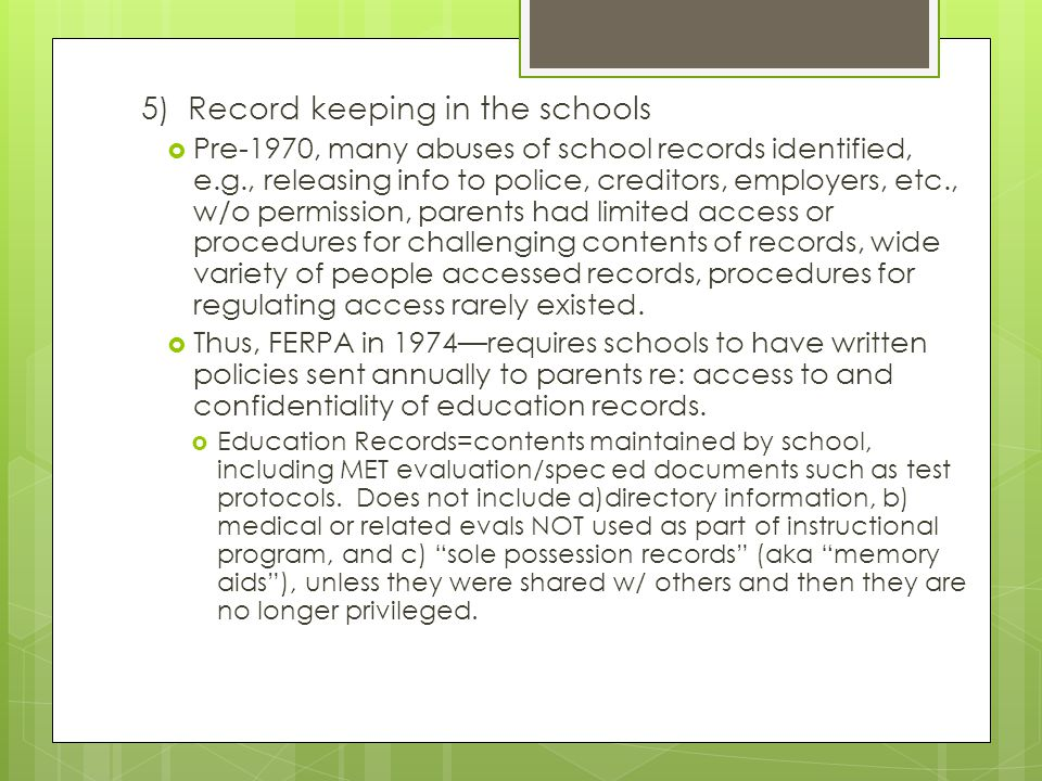 5) Record keeping in the schools