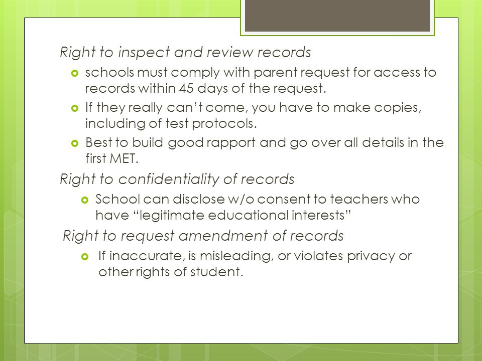 Right to inspect and review records