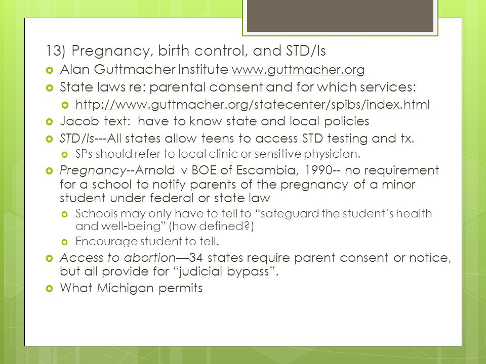 13) Pregnancy, birth control, and STD/Is