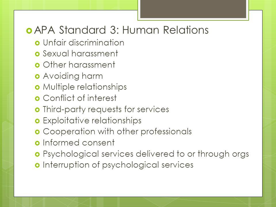 APA Standard 3: Human Relations