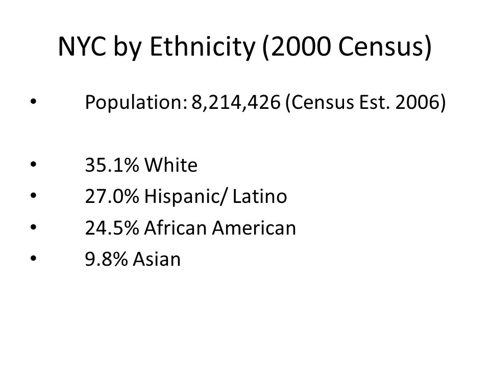 NYC by Ethnicity (2000 Census)