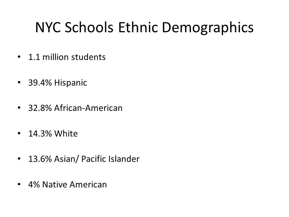NYC Schools Ethnic Demographics