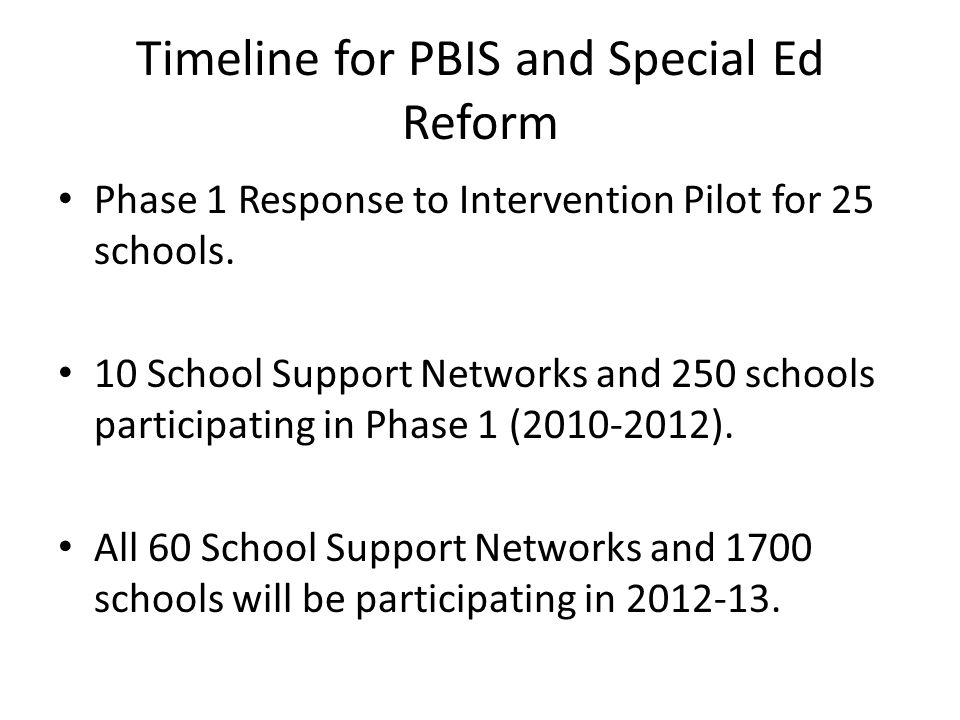 Timeline for PBIS and Special Ed Reform