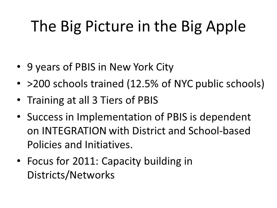 The Big Picture in the Big Apple
