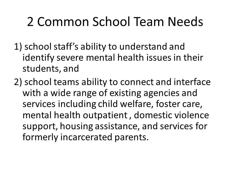 2 Common School Team Needs