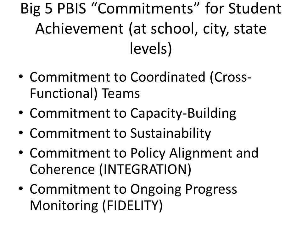 Big 5 PBIS Commitments for Student Achievement (at school, city, state levels)