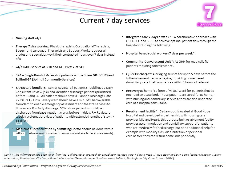 7 7 Current 7 day services Patients need the NHS every day!