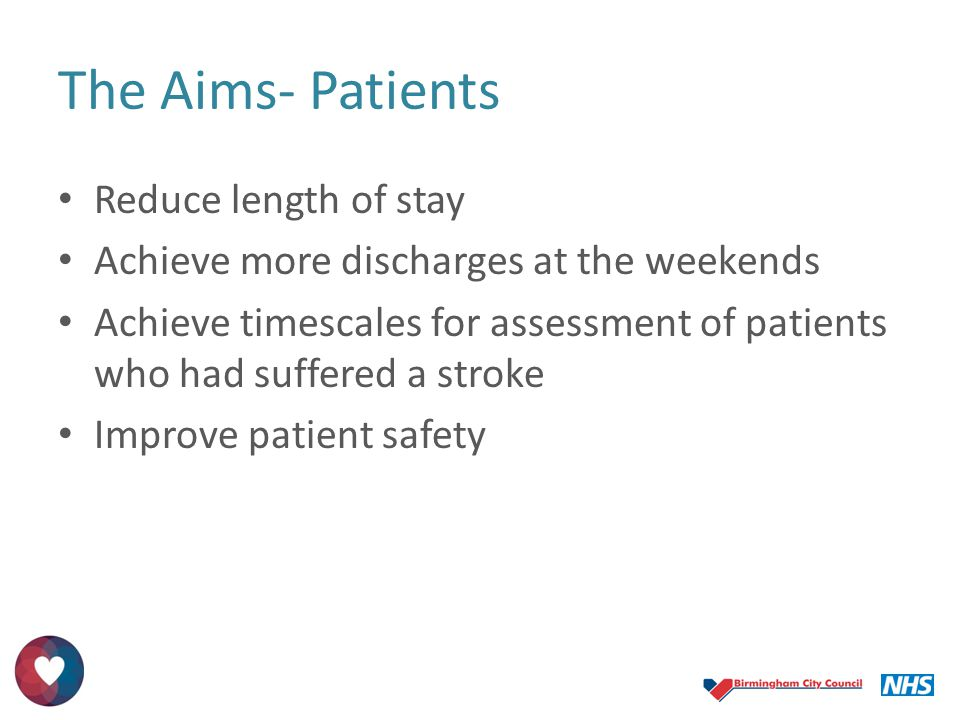 The Aims- Patients Reduce length of stay