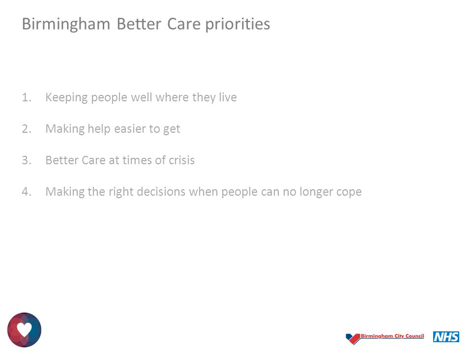 Birmingham Better Care priorities