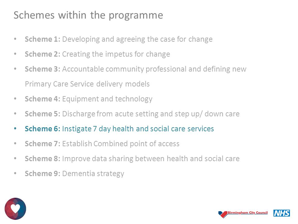 Schemes within the programme