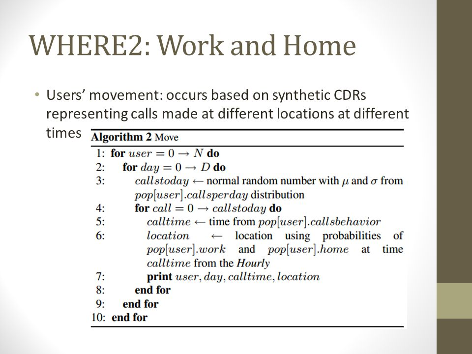 WHERE2: Work and Home Users' movement: occurs based on synthetic CDRs representing calls made at different locations at different times.