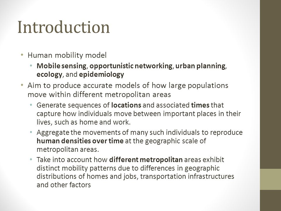 Introduction Human mobility model