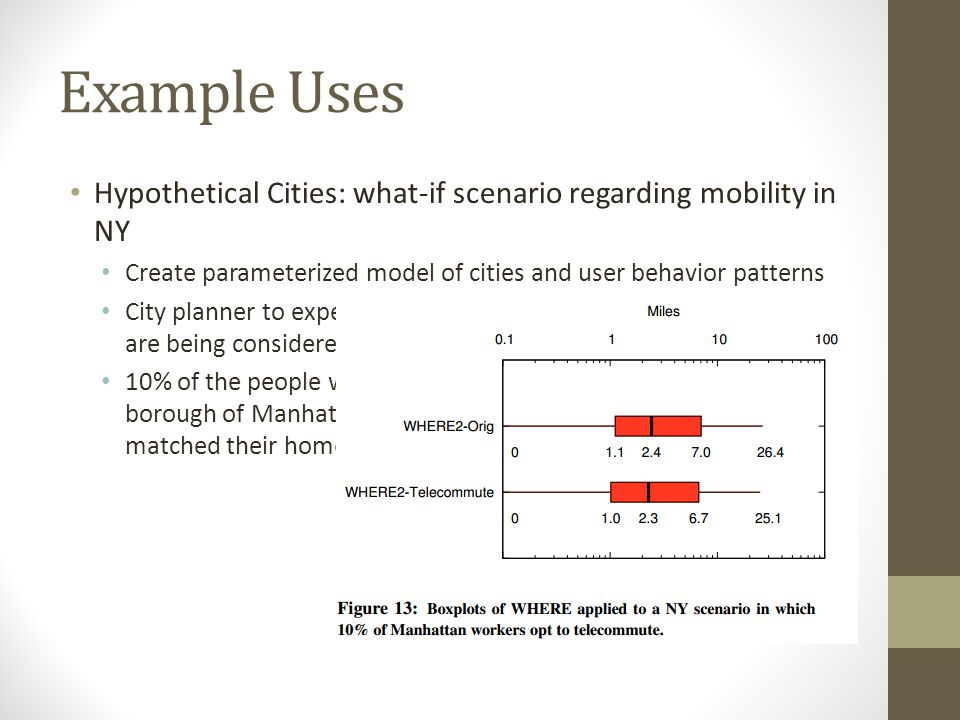 Example Uses Hypothetical Cities: what-if scenario regarding mobility in NY. Create parameterized model of cities and user behavior patterns.