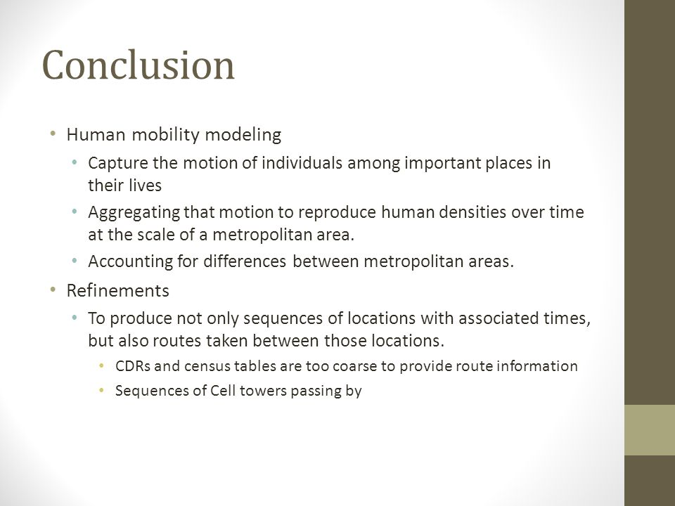 Conclusion Human mobility modeling Refinements