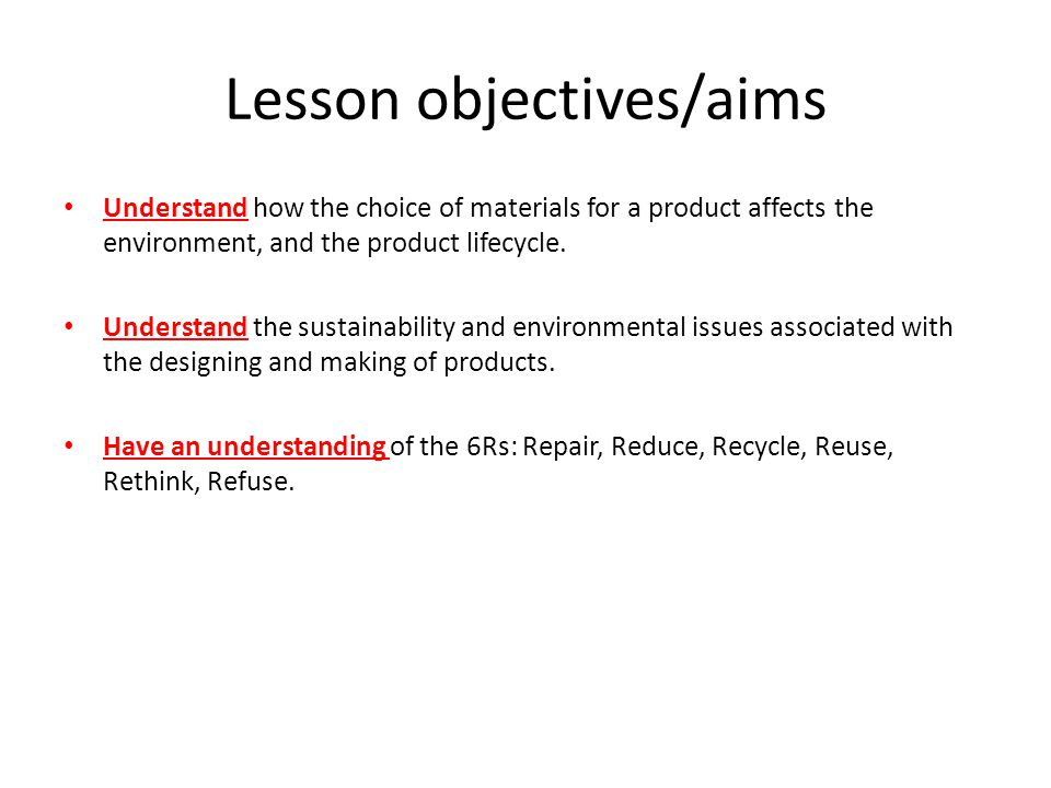 Lesson objectives/aims