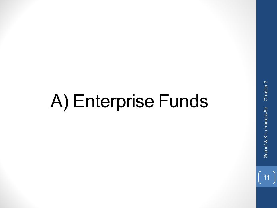 Chapter 9 A) Enterprise Funds Granof & Khumawala-6e