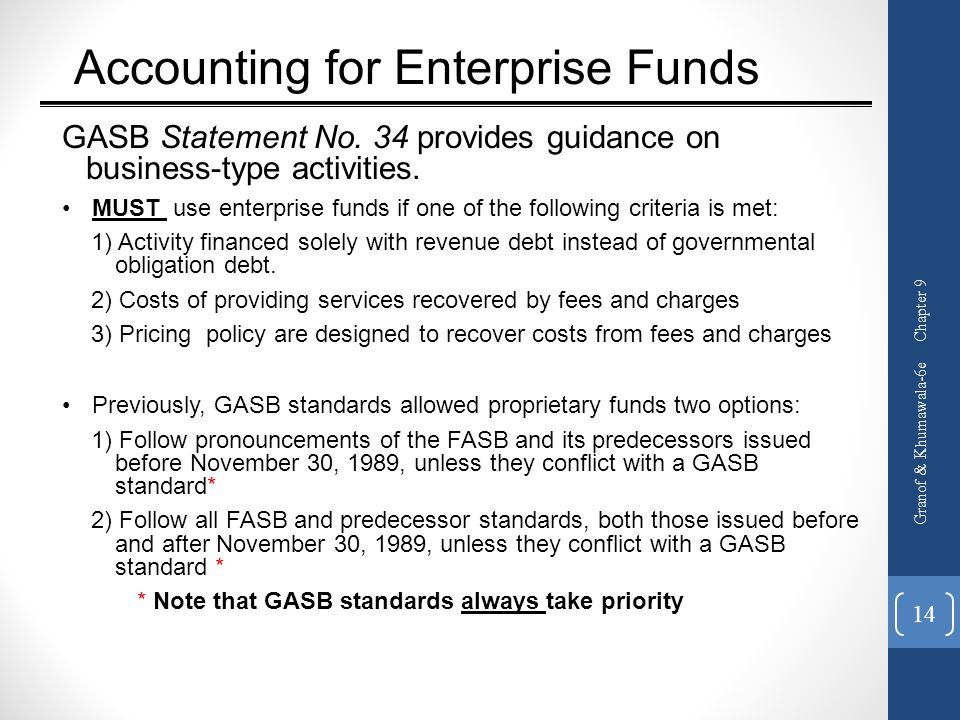 Accounting for Enterprise Funds