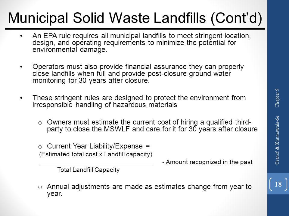 Municipal Solid Waste Landfills (Cont'd)