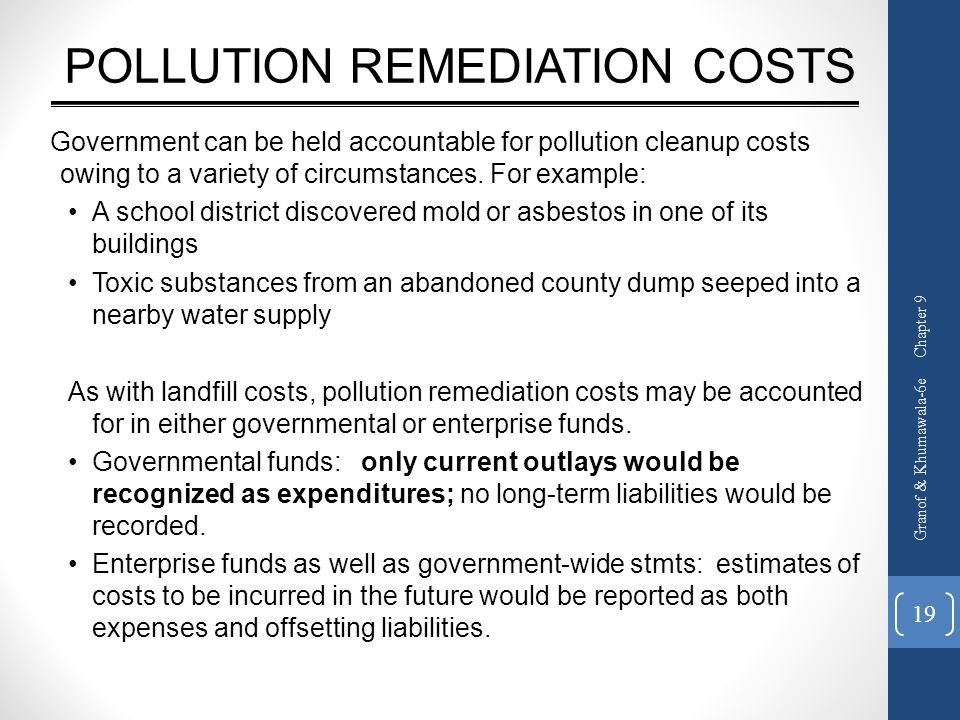 POLLUTION REMEDIATION COSTS