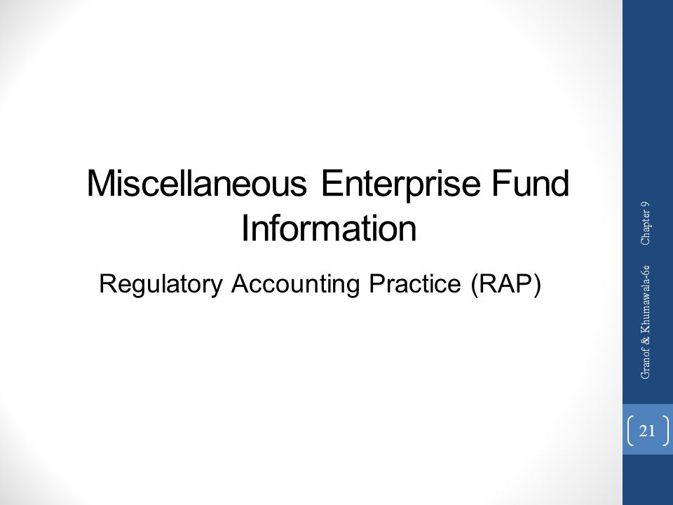 Miscellaneous Enterprise Fund Information