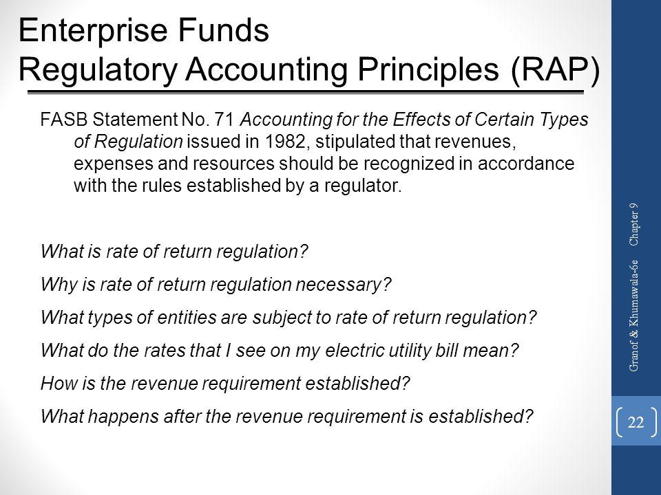 Enterprise Funds Regulatory Accounting Principles (RAP)