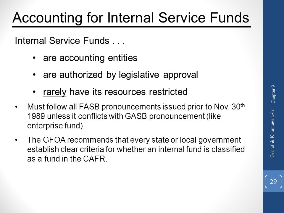 Accounting for Internal Service Funds