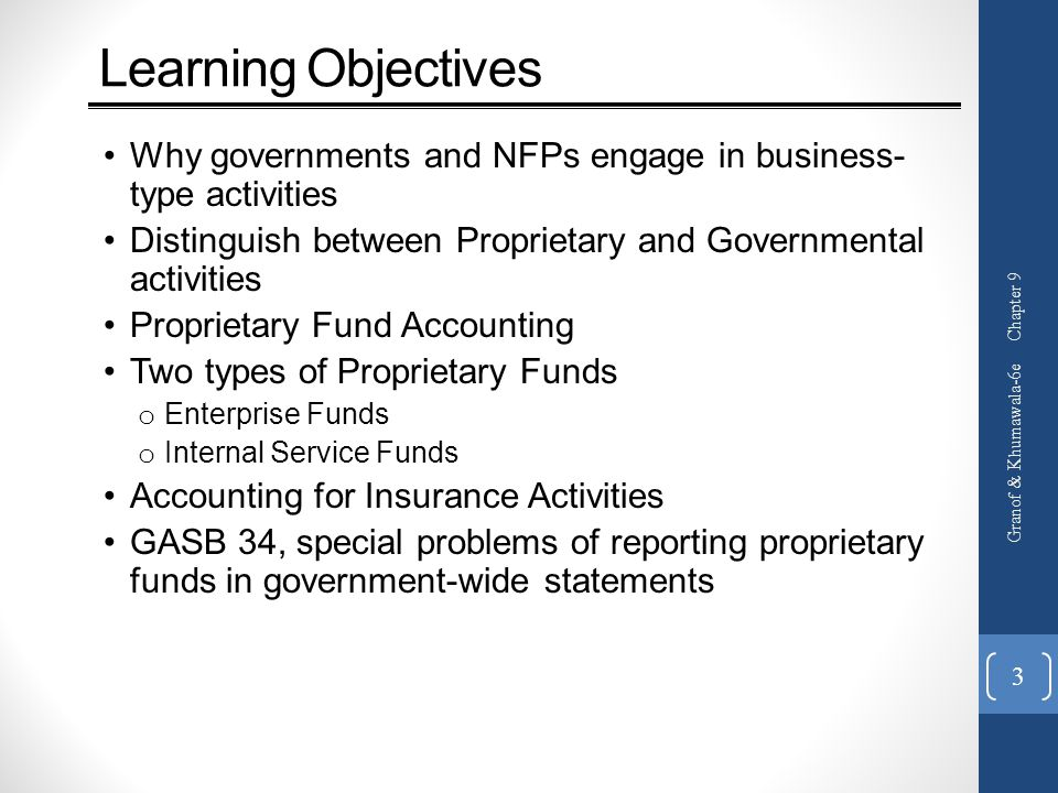 Learning Objectives Why governments and NFPs engage in business-type activities. Distinguish between Proprietary and Governmental activities.