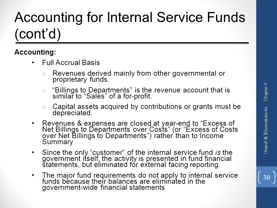 Accounting for Internal Service Funds (cont'd)