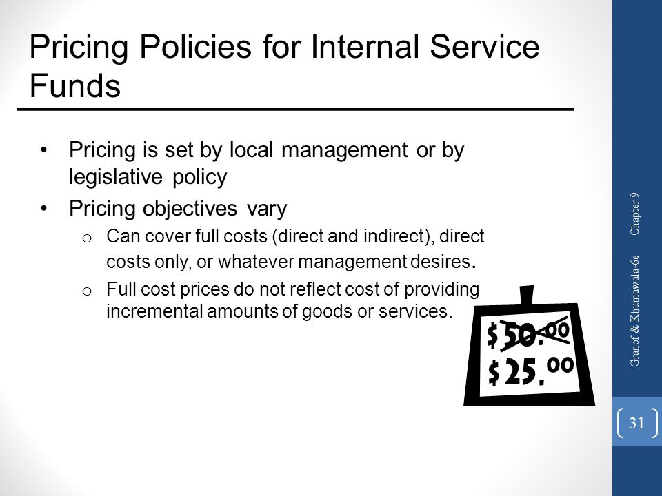 Pricing Policies for Internal Service Funds