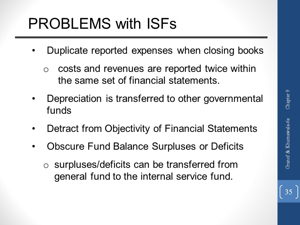 PROBLEMS with ISFs Duplicate reported expenses when closing books