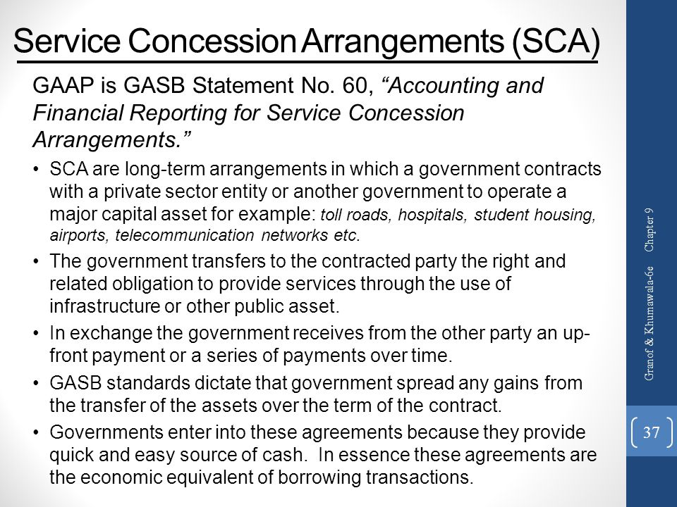 Service Concession Arrangements (SCA)
