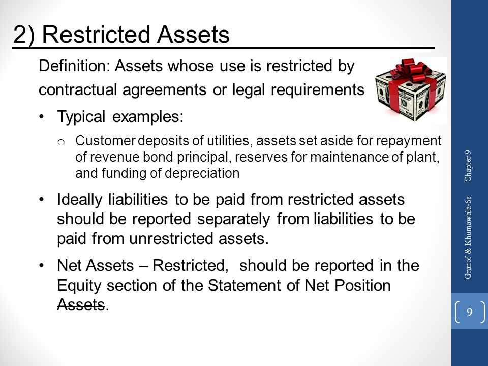 2) Restricted Assets Definition: Assets whose use is restricted by
