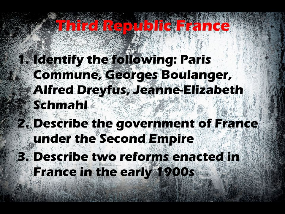 Third Republic France Identify the following: Paris Commune, Georges Boulanger, Alfred Dreyfus, Jeanne-Elizabeth Schmahl.