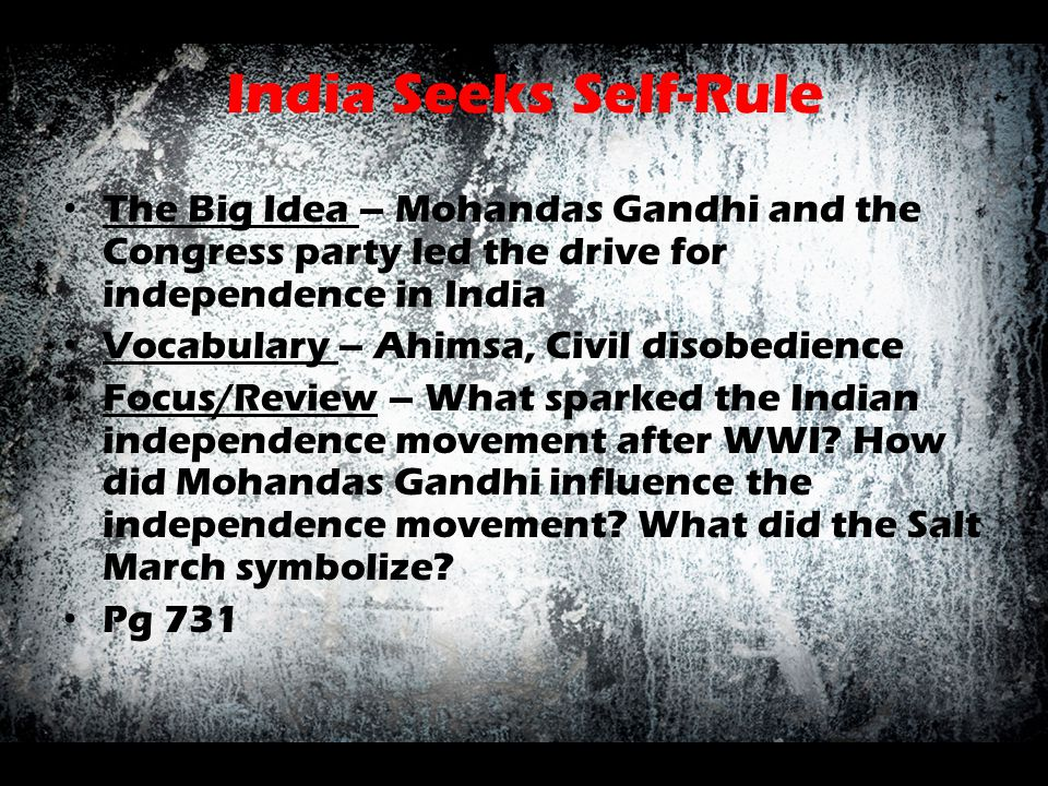 India Seeks Self-Rule The Big Idea – Mohandas Gandhi and the Congress party led the drive for independence in India.