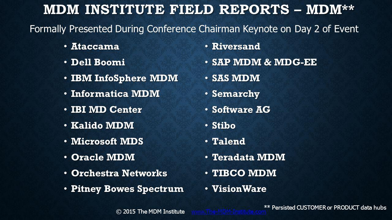 MDM Institute Field Reports – MDM**