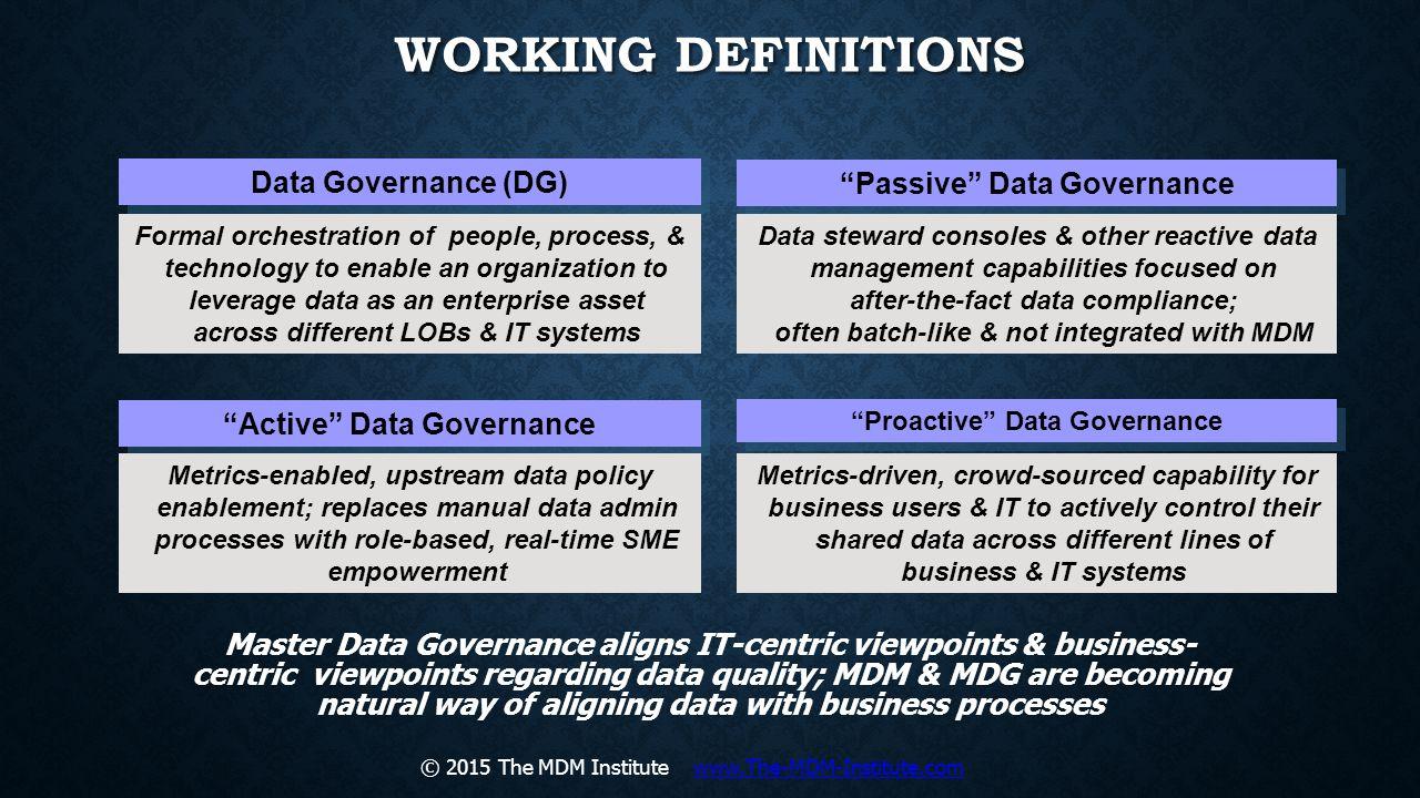 Working Definitions Data Governance (DG) Passive Data Governance